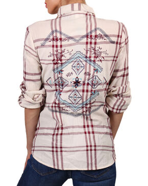 Shyanne Women's Embroidered Long Sleeve Western Shirt, Ivory, hi-res