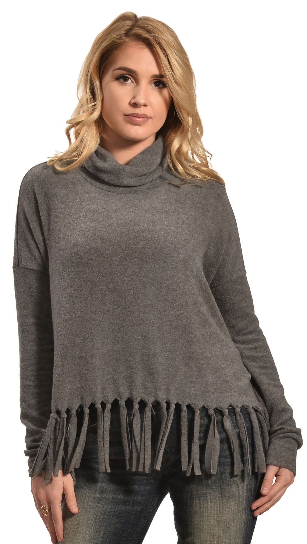 Derek Heart Women's Black Drop Shoulder Cowl Neck Fringe Sweater , Black, hi-res