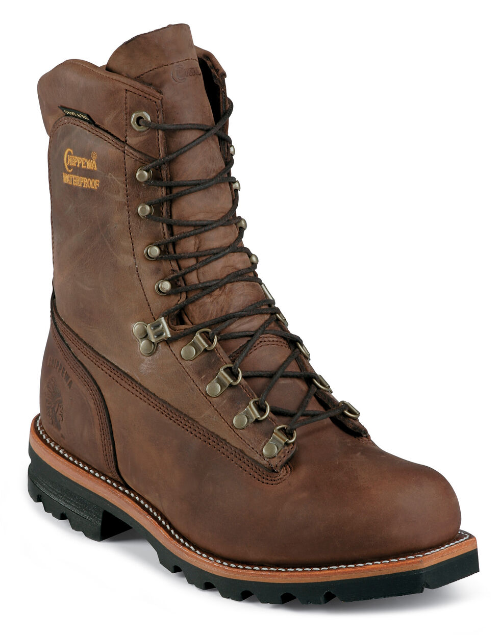 """Chippewa 9"""" Arctic Waterproof Shearling Insulated Work Boots - Round Toe, Bay Apache, hi-res"""