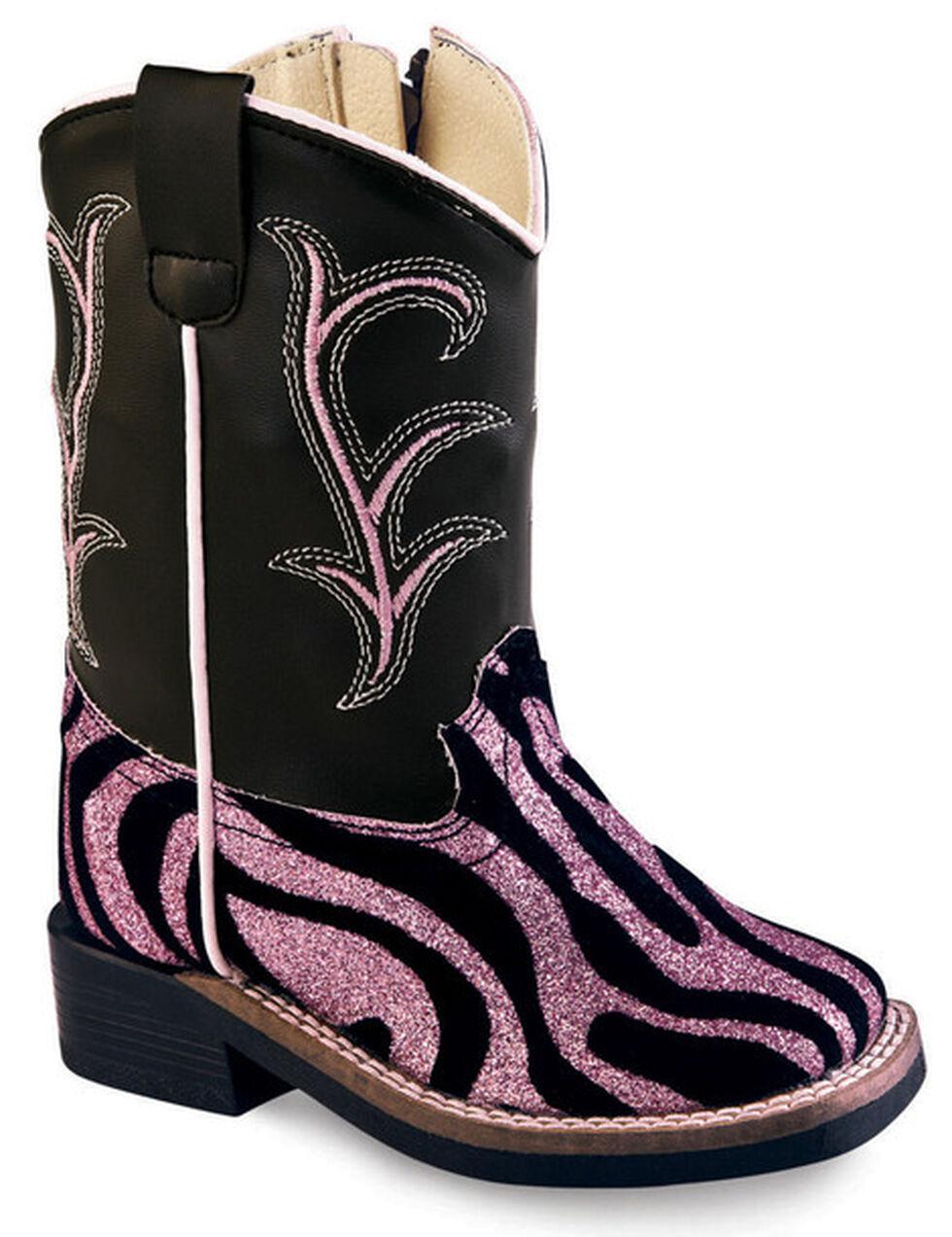 Old West Toddler Girls' Pink and Black Western Boots - Square Toe, Zebra, hi-res