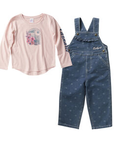 Carhartt Toddler Girls' Graphic T-Shirt And Denim Overall Set, Pink, hi-res
