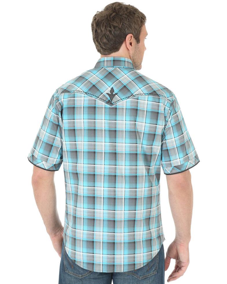 Wrangler Rock 47 Men's Teal Plaid Long Sleeve Western Shirt, , hi-res