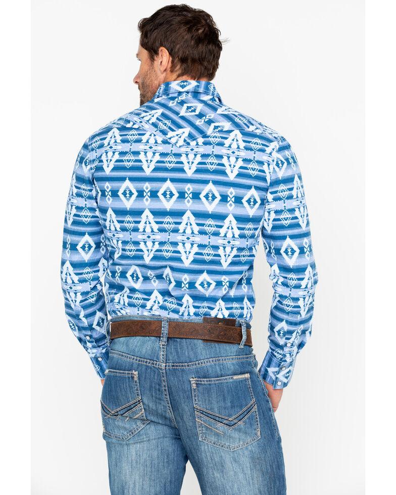 Rock & Roll Denim Men's Striped Aztec Print Long Sleeve Western Shirt, Light Blue, hi-res