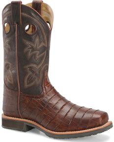 Double H Men's Croc Print Roper Work Boots - Steel Toe, Brown, hi-res