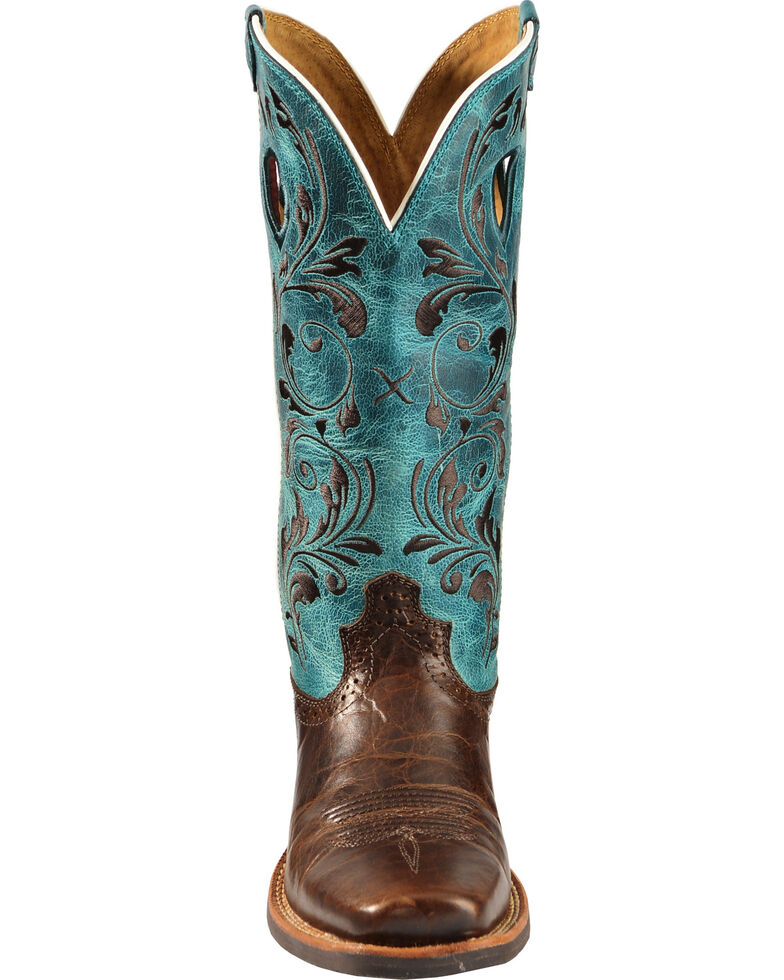 Twisted X Ruff Stock Turquoise Embroidered Cowgirl Boots - Square Toe, Chocolate, hi-res