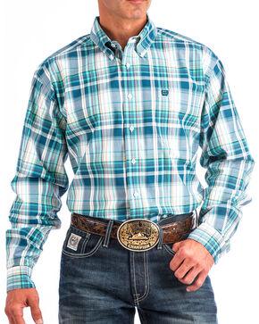 Cinch Men's Blue Large Plaid Western Shirt , White, hi-res