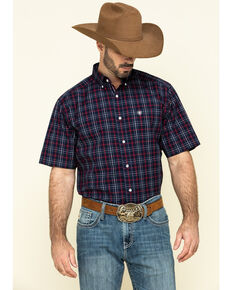 Ariat Men's Turlock Navy Plaid Short Sleeve Western Shirt - Big , Navy, hi-res