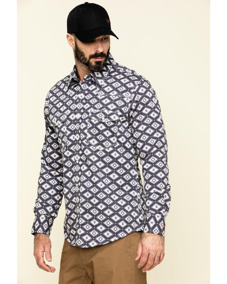 Rock & Roll Denim Men's FR Printed Aztec Twill Long Sleeve Work Shirt , Charcoal, hi-res