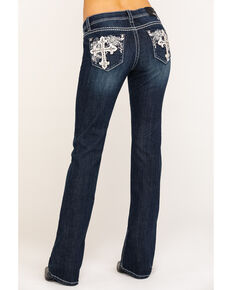 Grace in LA Women's Dark Wash Cross Bootcut Jeans , Blue, hi-res