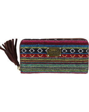 Catchfly Women's Daphne Aztec Print Wallet, Brown, hi-res