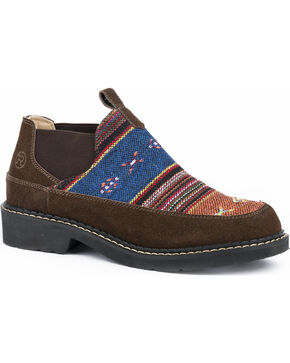 Roper Women's Isabel Aztec Fabric Suede Slip On Shoes - Round Toe, Brown, hi-res