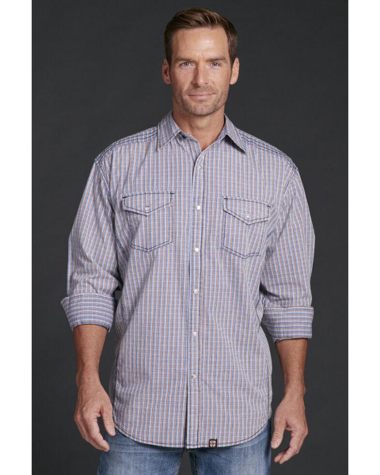 Cowboy Up Men's Blue Plaid Snap Long Sleeve Western Shirt, Blue, hi-res