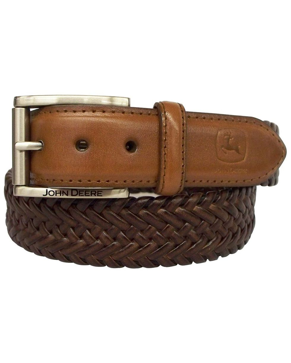 John Deere Braided Brown Leather Belt, Brown, hi-res