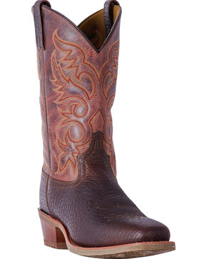 Laredo Men's Brown Merrick Leather Boots - Square Toe , Dark Brown, hi-res