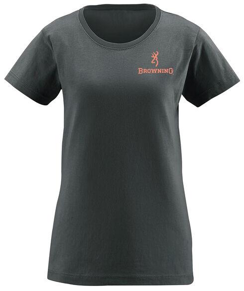 Browning Women's Realtree Xtra Buckmark Charcoal Short Sleeve Tee, Charcoal Grey, hi-res