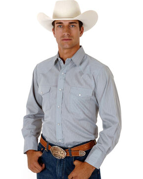 Roper Men's Tone On Tone Long Sleeve Western Shirt, Grey, hi-res