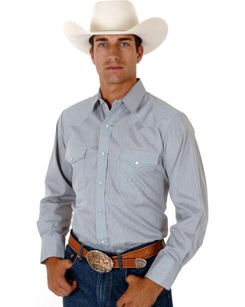 Roper Men's Tone On Tone Long Sleeve Western Shirt, Grey, hi-res