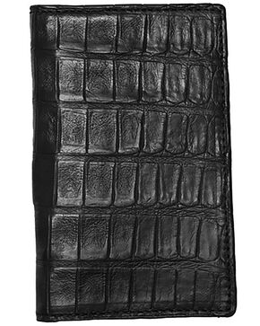 Lucchese Men's Black Genuine Crocodile Bi-fold Wallet, Black, hi-res