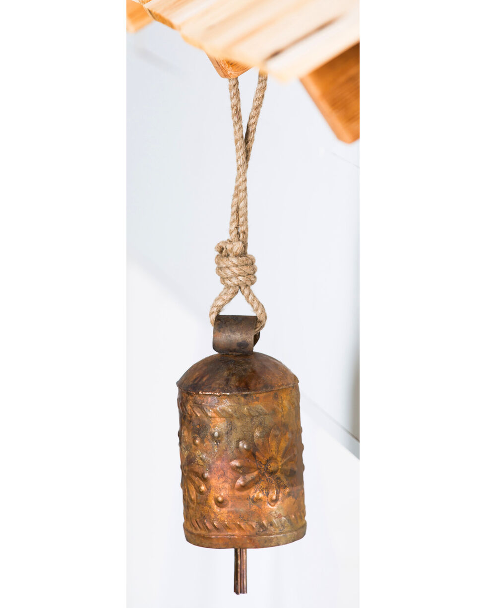 Evergreen Copper Metal Carved Bell , Rust Copper, hi-res