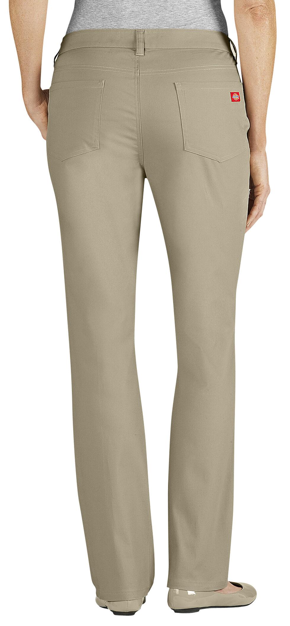 Dickies Women's Slim Fit 5-Pocket Stretch Twill Pants, Desert, hi-res