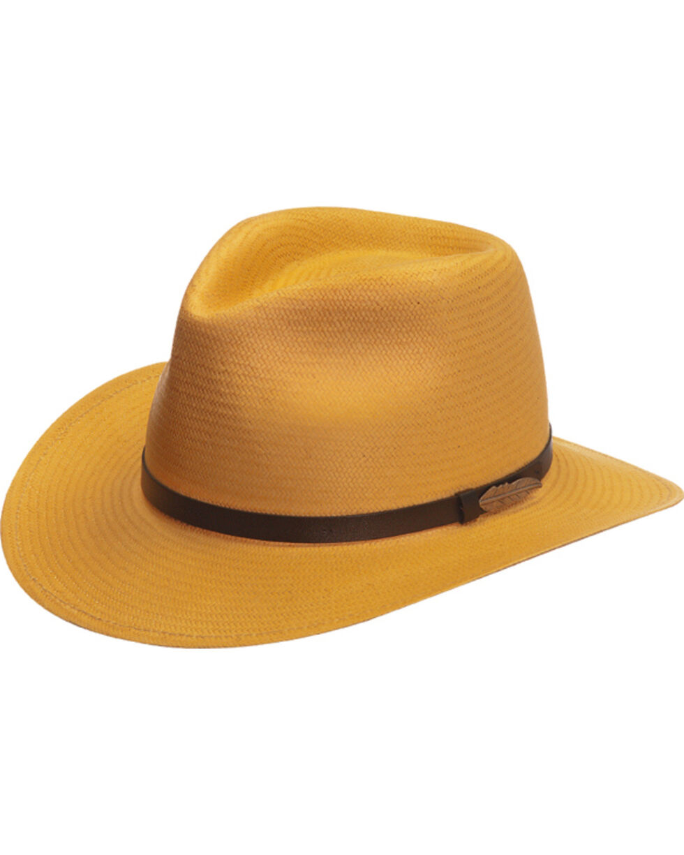 Black Creek Men's Toyo Straw Hat with Metal Feather, Wheat, hi-res
