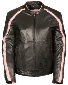 Milwaukee Leather Women's Stud & Wing Leather Jacket - 3XL, Pink/black, hi-res