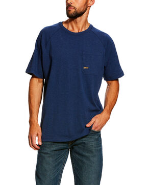 Ariat Men's Navy Rebar Cotton Strong Short Sleeve Crew Work Shirt , Navy, hi-res