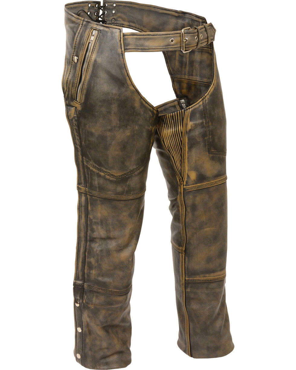 Milwaukee Leather Men's Tan Distressed Thermal Lined Chaps , Black/tan, hi-res