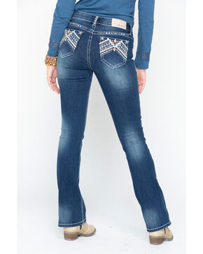 Grace In LA Women's Embroidered Pocket Boot Jeans, Indigo, hi-res