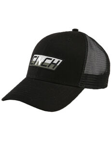 Cinch Men's Black Logo Patch Trucker Cap , Black, hi-res