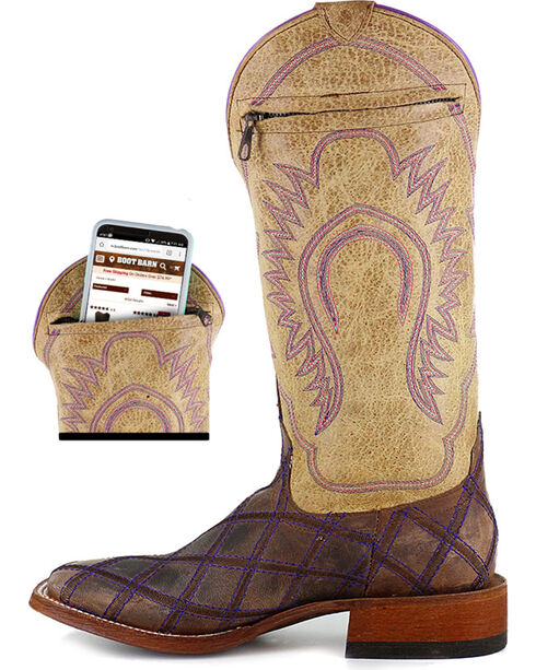 Macie Bean Women's Call Me Maybe Western Boots - Square Toe, Brown, hi-res