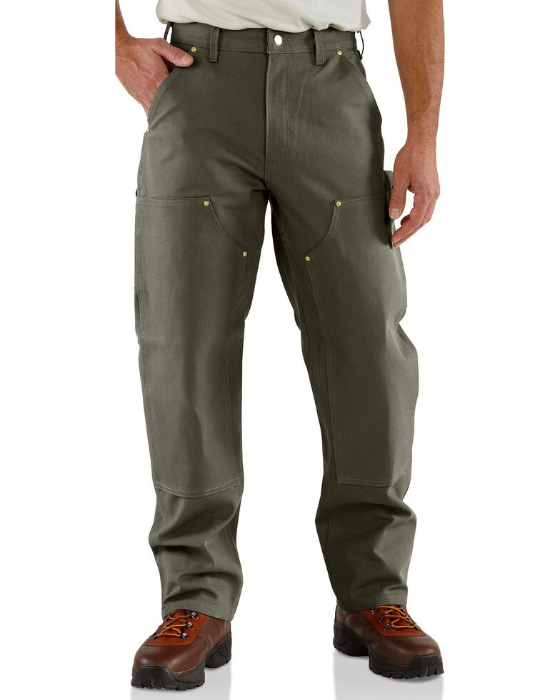 Carhartt Double Front Duck Utility Dungaree Work Pants, Moss, hi-res