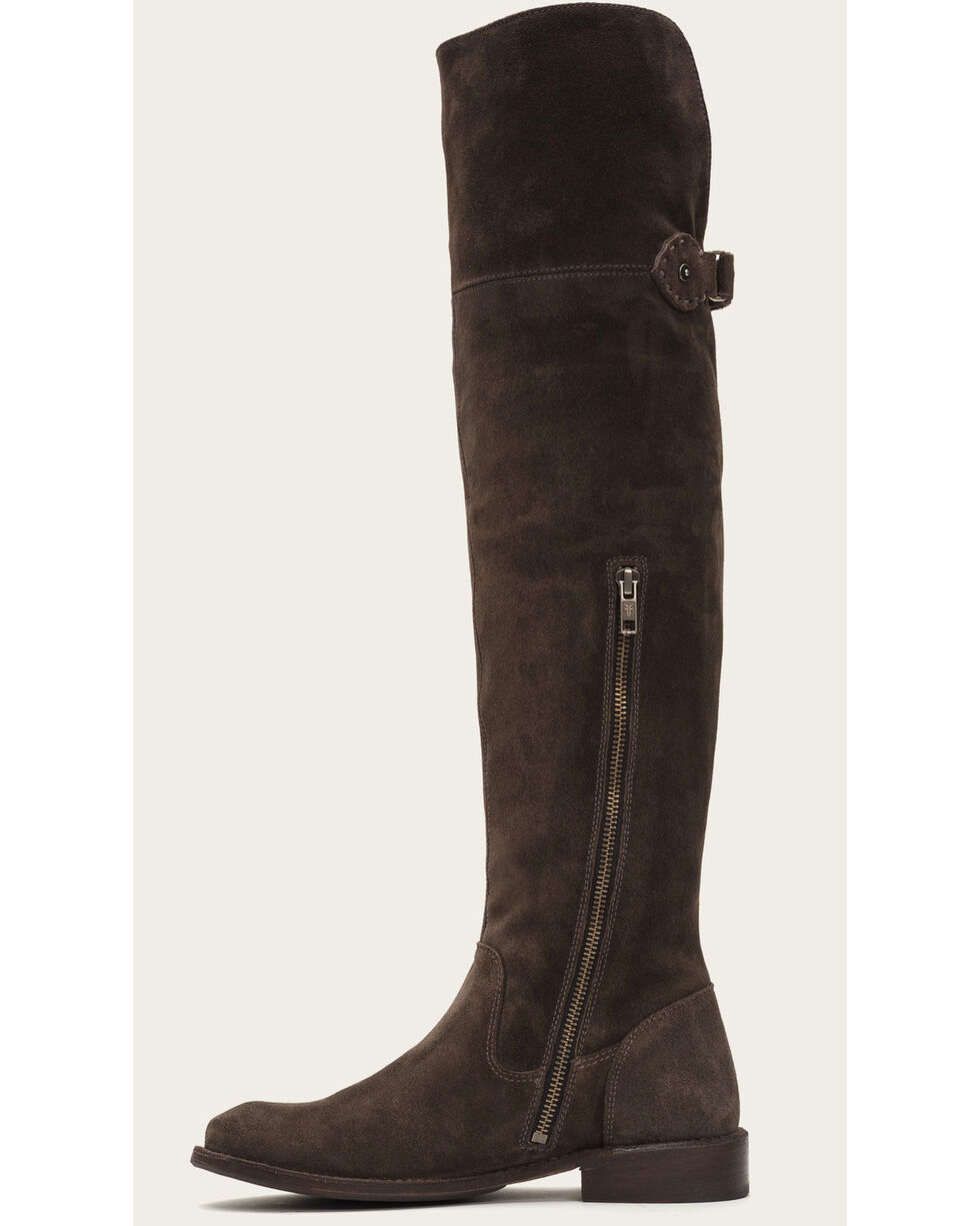 Frye Women's Smoke Suede Shirley OTK Boots - Round Toe , Grey, hi-res