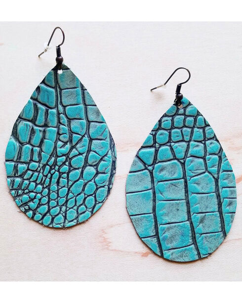 Jewelry Junkie Women's Turquoise Gator Leather Teardrop Earrings, Turquoise, hi-res