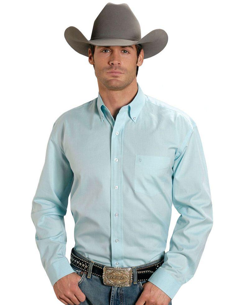 Stetson Men's Solid Button Oxford Long Sleeve Western Shirt, Aqua, hi-res