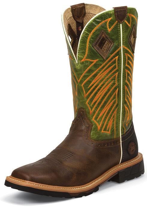 Justin Men's Derrickman Tan Work Boots - Soft Toe, Tan, hi-res