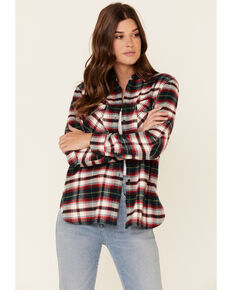 Pendleton Women's Ivory Plaid Elbow Patch Western Flannel Shirt , Ivory, hi-res