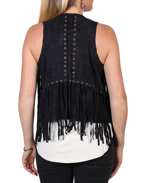 Vocal Women's Black Faux Suede Fringe Vest , Black, hi-res