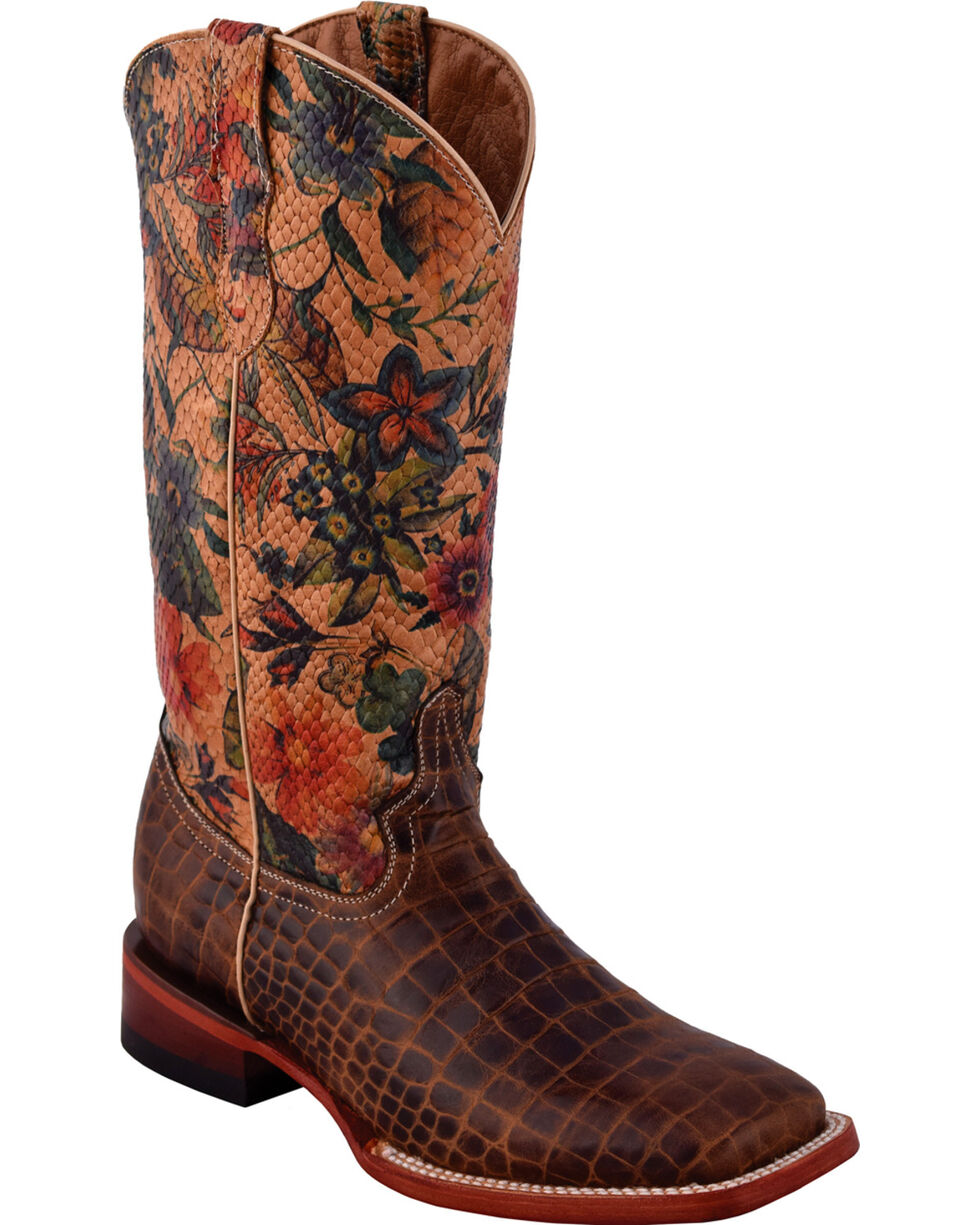Ferrini Women's Vintage Belly Caiman Print Boots - Square Toe, Brown, hi-res