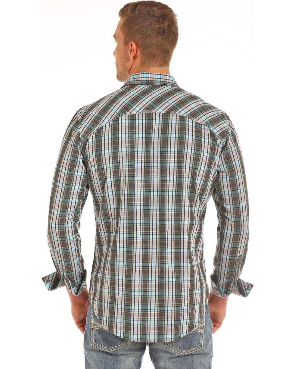 Rock & Roll Cowboy Men's Grey Crinkle Washed Plaid Long Sleeve Shirt, Grey, hi-res
