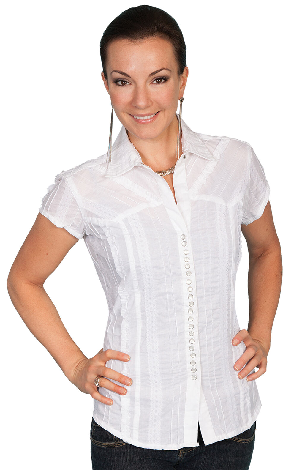 Scully Cap Sleeve Top, White, hi-res