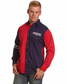 Ely Walker Men's Americana Colorblock Long Sleeve Western Shirt, Blue, hi-res
