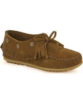 Minnetonka Fringed Suede Moccasins, Dusty Brn, hi-res
