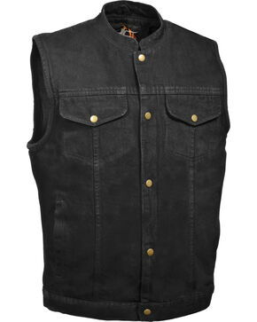 Milwaukee Leather Men's Snap Front Denim Club Style Vest w/ Gun Pocket, Black, hi-res