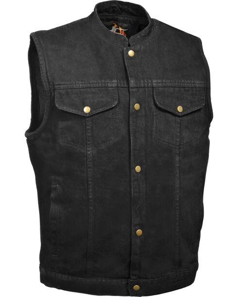 Milwaukee Leather Men's Snap Front Denim Club Vest w/ Gun Pocket - Big - 5X, , hi-res