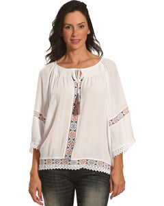New Direction Women's Tie Front Peasant Top , White, hi-res