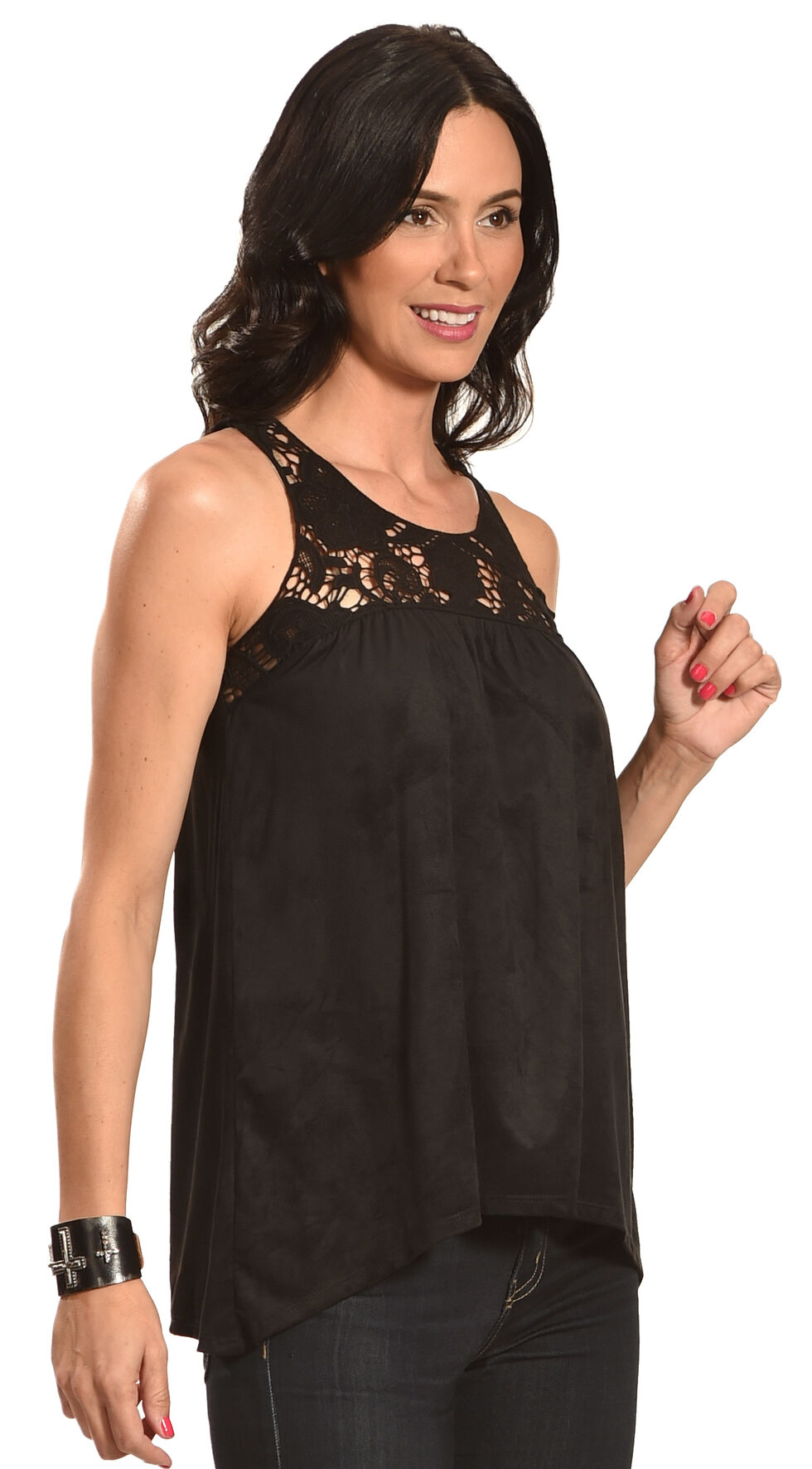 Jody of California Women's Blue Lace Micro Suede Top , Black, hi-res