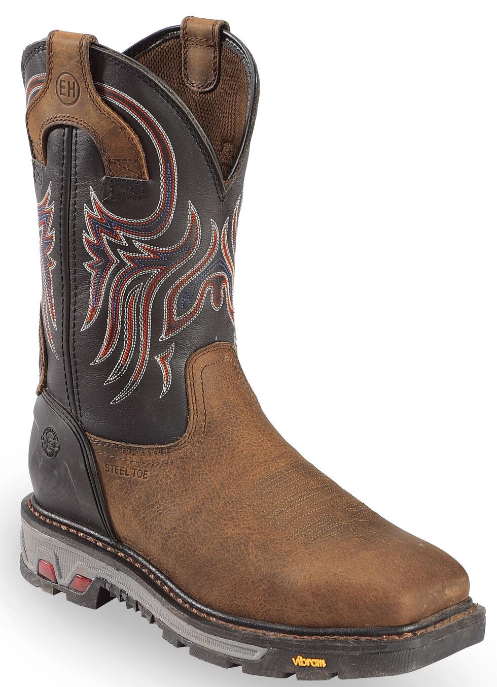 Justin Men's Tanker Black EH Waterproof Work Boots - Steel Toe, Timber, hi-res