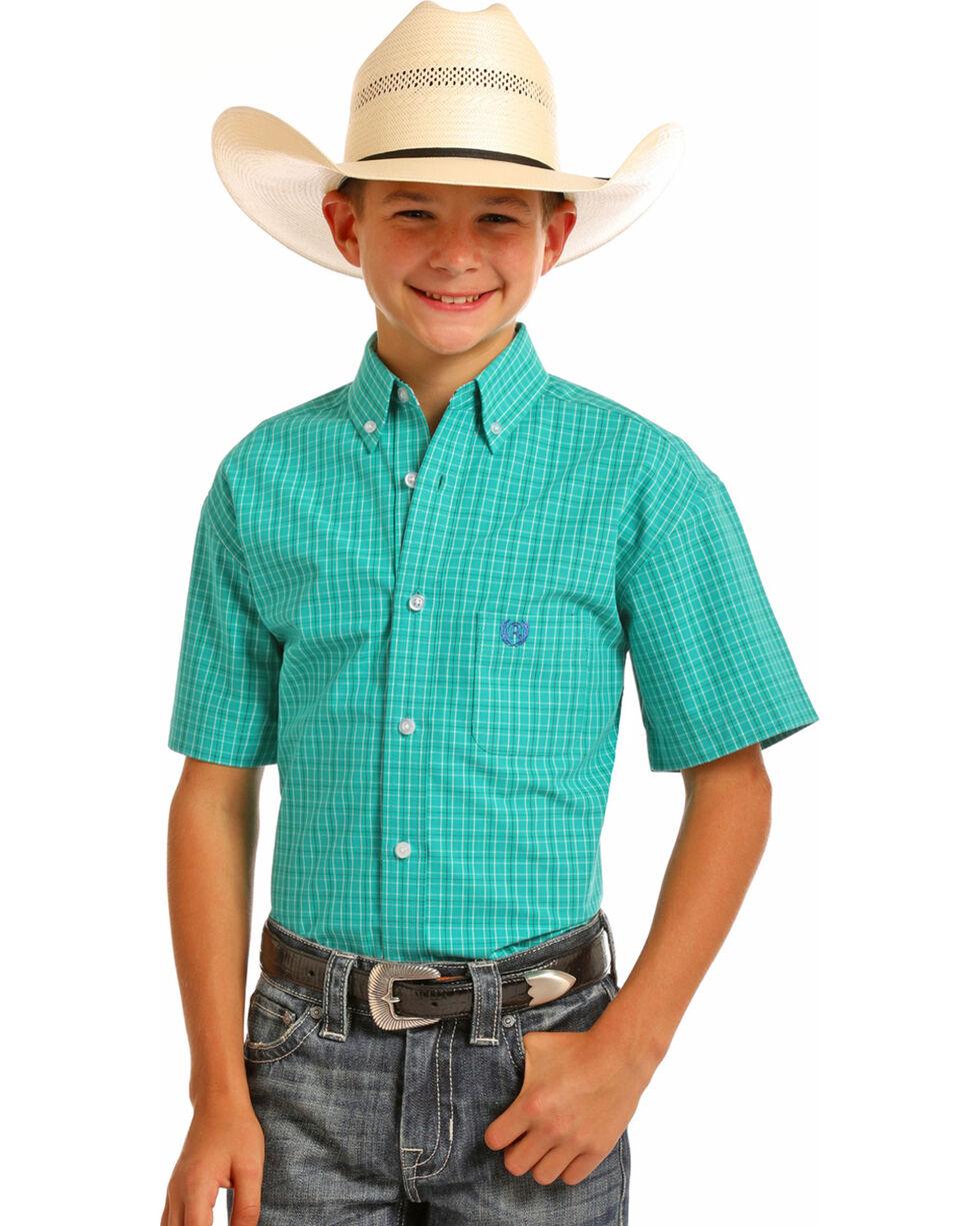 Panhandle Boys' Jade Checkered Plaid Short Sleeve Shirt, Green, hi-res
