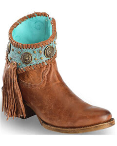 Corral Women's Turquoise Fringe Ankle Boots - Round Toe, Cognac, hi-res